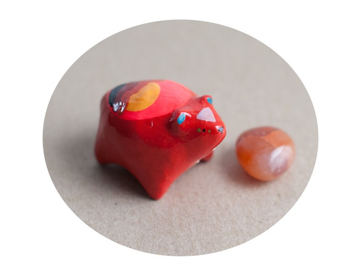 Energetic Bear w/ Red Jasper Stone: For the Root Chakra