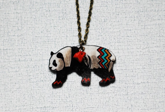 Panda Bear Necklace | Geometric Bear Necklace | Animal Jewelry| Shrink Plastic Jewelry