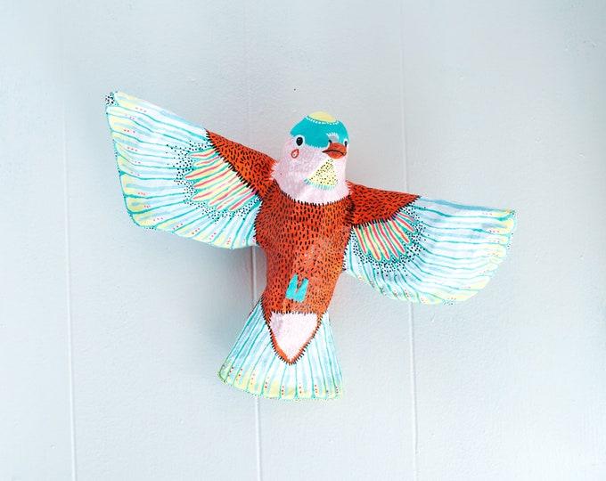 Bird Wall Sculpture: Study 1 | Bird Wall Hanging | Paper Mache Bird Sculpture