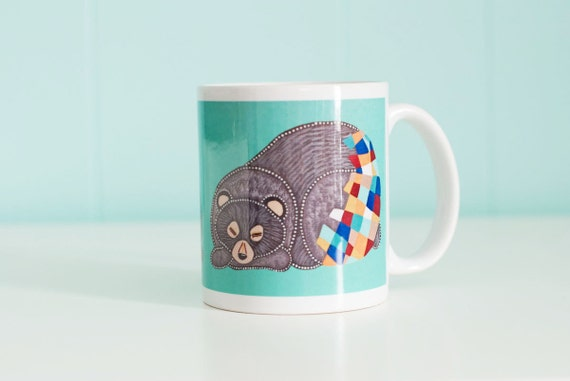 Sleepy Bear Mug / Black Bear / 11oz Coffee Mug
