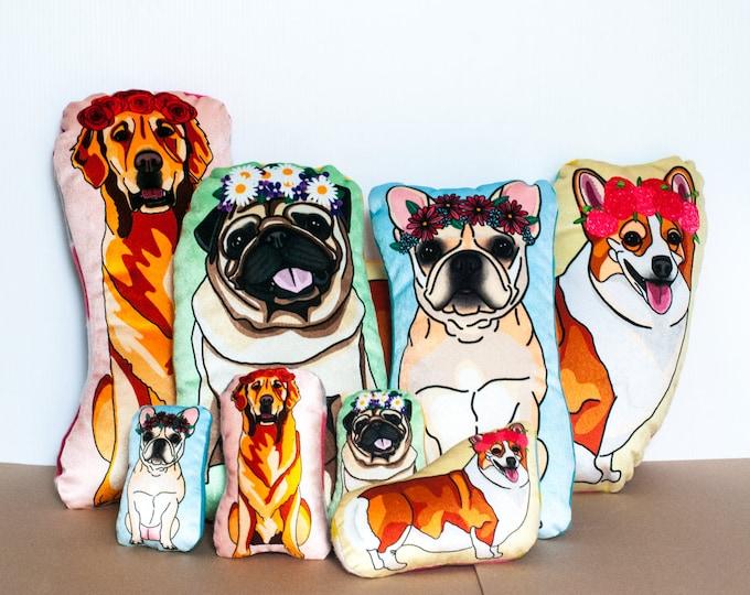LARGE DOG Velvet Plushie   Dogs Wearing Flower Crowns   Golden Retriever, Pug, Corgi, French Bulldog   Choose Large or Small