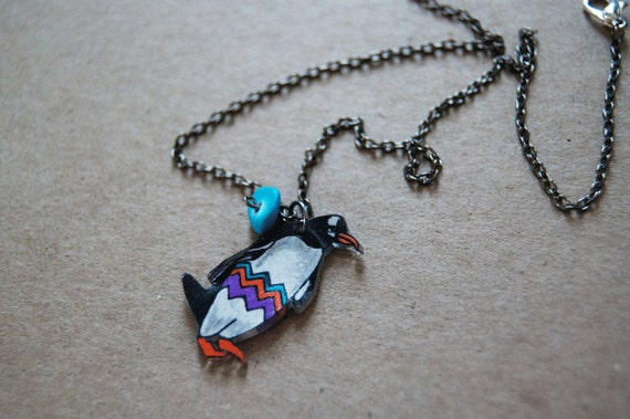 Gentoo Penguin Necklace | Chevron Necklace | Geometric Animal Jewelry | Bird Jewelry | Shrink Plastic Jewelry