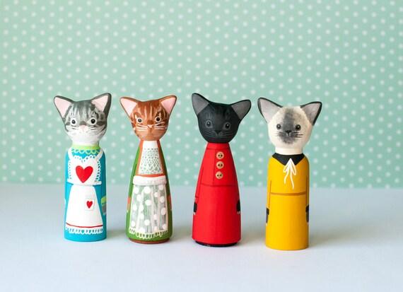 Cat Peg Dolls | Cat Dolls | Cats Wearing Dresses | Colorful Wooden Cat Peg Dolls