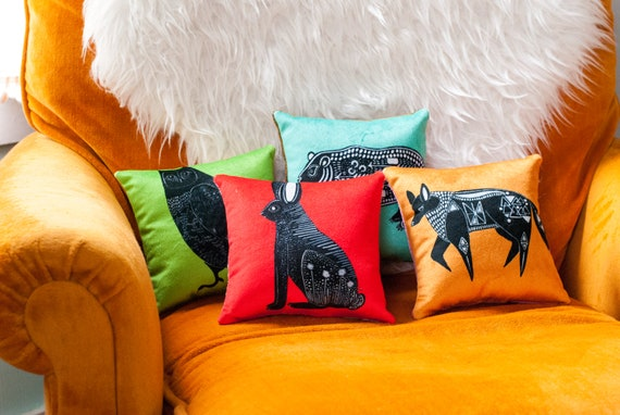 Choose Your Mini Pillow: Hare | Bear | Fox | Owl - VELVET THROW PILLOW