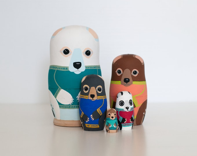 Bear Nesting Dolls / Matryoshka Russian Dolls / Set of 5 / Colorful / Bears Wearing Sweaters