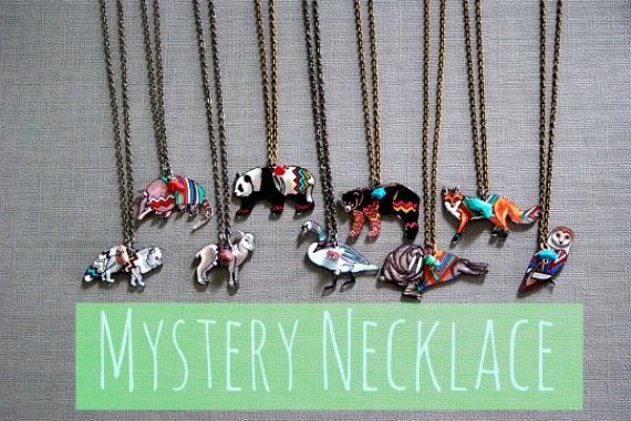 1 Mystery Animal Necklace | Mystery Grab Bag Collection | Geometric Animal Necklace | Hand Drawn Shrink Plastic Necklace