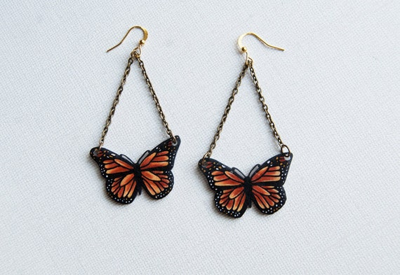 Monarch Butterfly Earrings | Butterfly Species Collection | Hand Drawn Shrink Plastic Jewelry | Entomology, Insect | Wearable Art