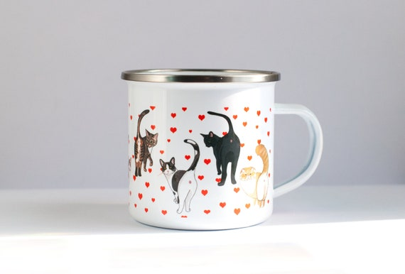 Cat Butt ENAMEL Coffee Mug | Funny Cat Coffee Mug | 10oz Coffee Mug | For Cat Lovers