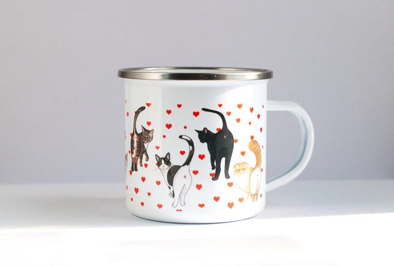 Cat Butt ENAMEL Coffee Mug  Funny Cat Coffee Mug  10oz image 0