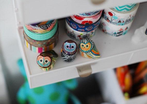 Owl Studies 24, 25, 26 / Barn Owl Totem / Colorful / Geometric / Modern Art Figurine