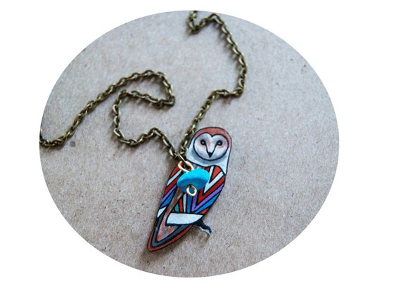 Barn Owl Necklace / Chevron Necklace / Chevron Animal / Zig Zag  / Owl / Bird / Rainbow / Shrink Plastic Jewelry