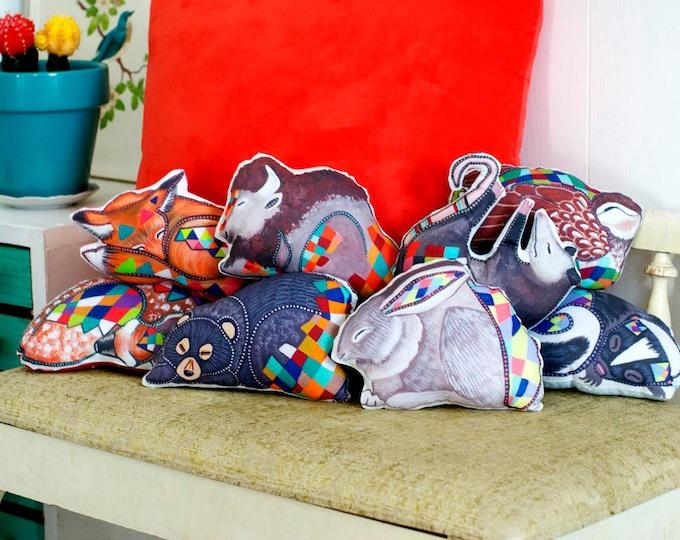 Choose Your Animal Plushie / 2 NEW ANIMALS ADDED / Sleepy Animal Pillow / Plush / Accent Pillow / Woodland Animals