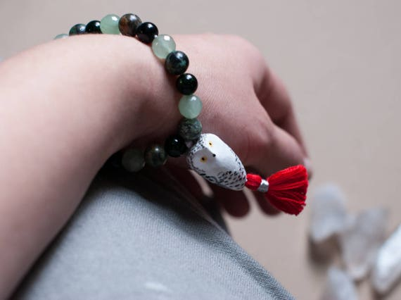 Sacred Snowy Owl Mala Bracelet: Green Goldstone, Aventurine, & African Turquoise | A Creature of One Wilderness