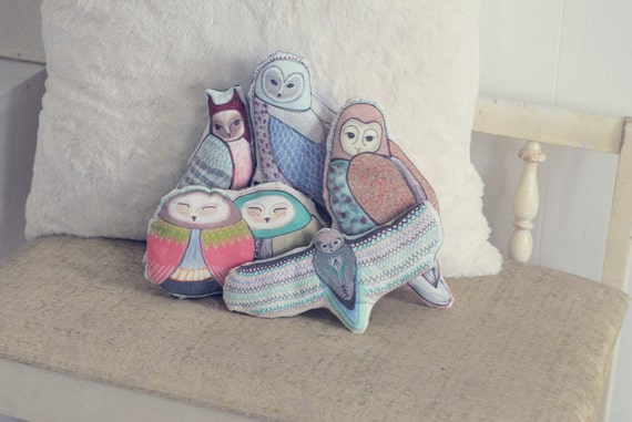 Choose Your Owl Pillow / Owl Plush / Plushie / Accent Pillow / Pastels / Original Illustration