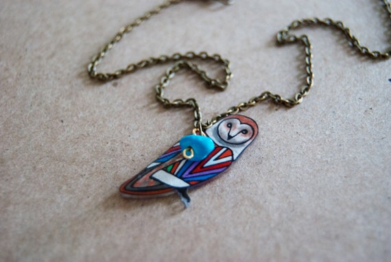 Barn Owl Necklace | Chevron Necklace | Geometric Owl Necklace | Bird Jewelry | Shrink Plastic Jewelry