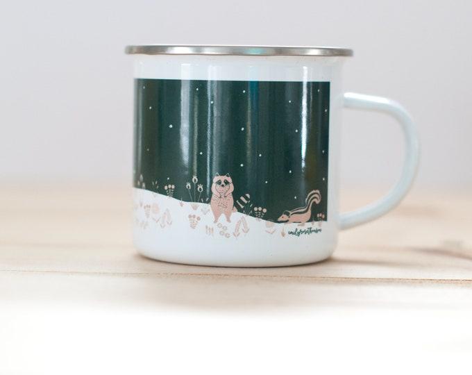 Woodland Creatures ENAMEL Coffee Mug | Emily Rose Thomson Logo Coffee Mug | 10oz Coffee Mug | Camp Mug