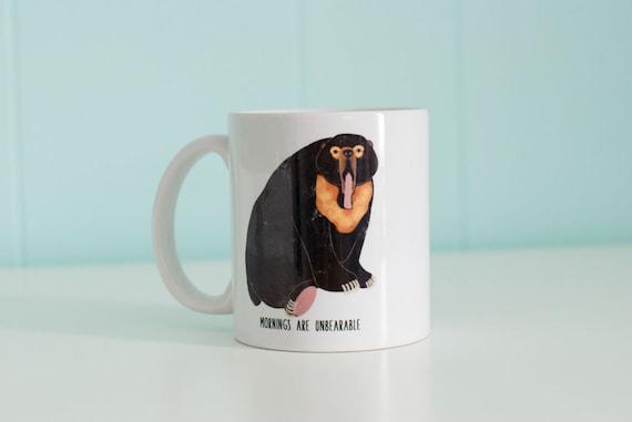 Mornings are Unbearable  Mug / Black Bear / 11oz Coffee Mug