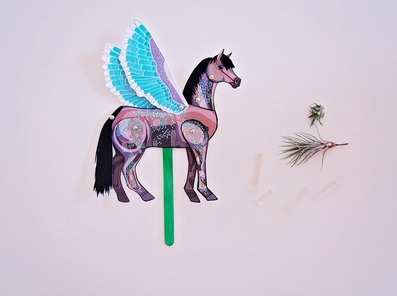DIY Pegasus Horse Paper Doll  DIGITAL DOWNLOAD  Articulated Doll  Party Supplies  Party Favor for Birthday