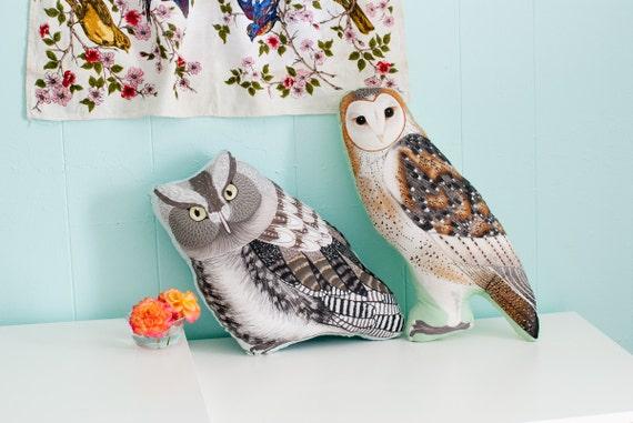 PREORDER Large Owl Plushie / Choose Between Screech Owl or Barn Owl / Owl Pillow