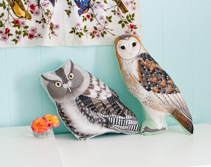Large Owl Plushie / Choose Between Screech Owl or Barn Owl / Owl Pillow