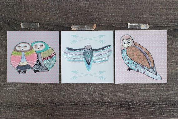 Set of 3 Owl Stickers / Removable Decals / Removable Wallpaper / Original Illustration / Vinyl Decal / Bumper Sticker