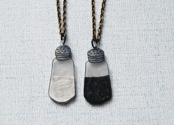 Salt and Pepper Necklaces | Gift for Best Friends | Gift for Mother and Daughter | Food Jewelry