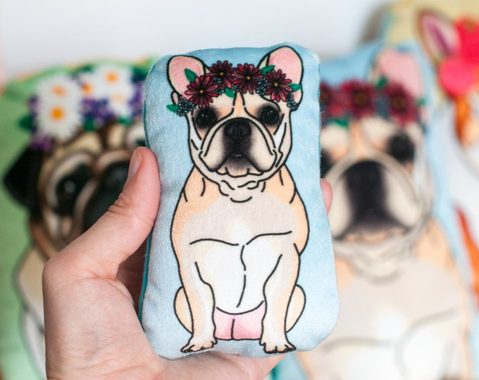 SMALL DOG Velvet Plushie   Dogs Wearing Flower Crowns   Golden Retriever, Pug, Corgi, French Bulldog   Choose Large or Small