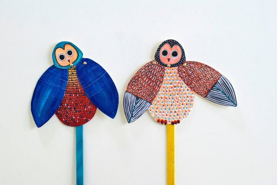 DIY Set of 2 Owl Articulated Dolls / Owl Puppet / DIGITAL DOWNLOAD / Party Favor for Birthday