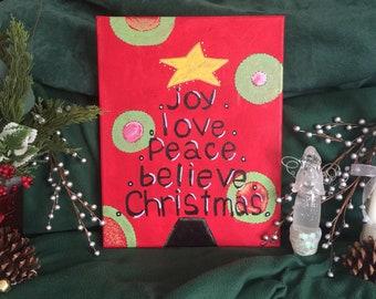 Joy Love Peace Believe Christmas Acrylic Canvas Painting 14x11