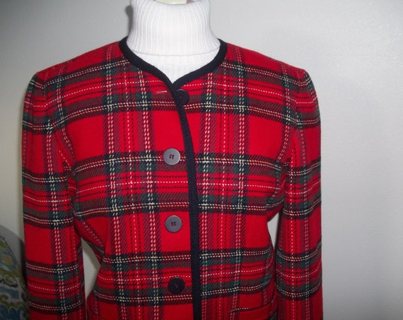 Tartan Jacket by Talbots Red Plaid Womens Jacket Made in USA Size 8P