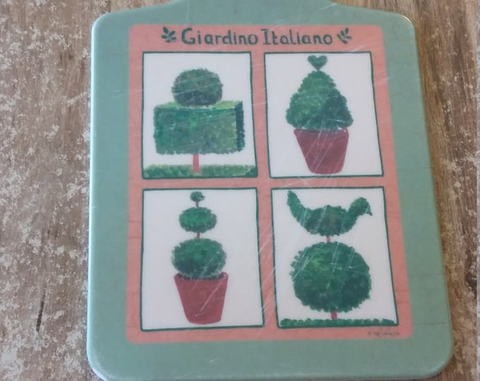 ITALIAN CUTTING BOARD Giardino Italiano Painted green terracotta and red heart bird beautiful gift for cook