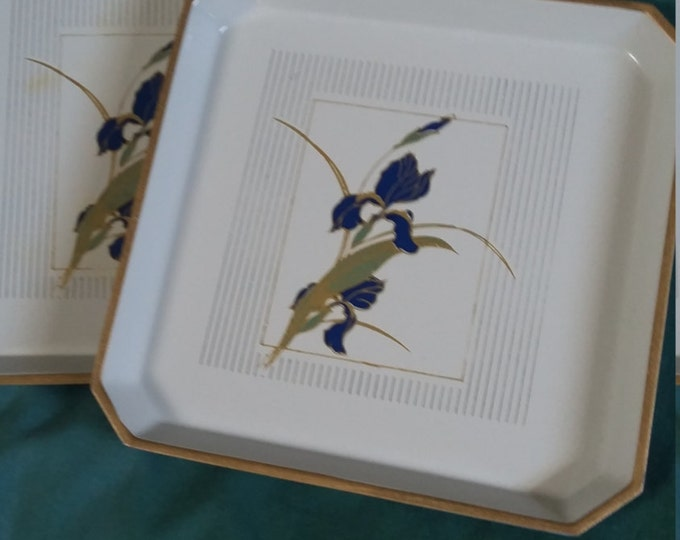 Vintage coasters gold etched trays painted blue flowers