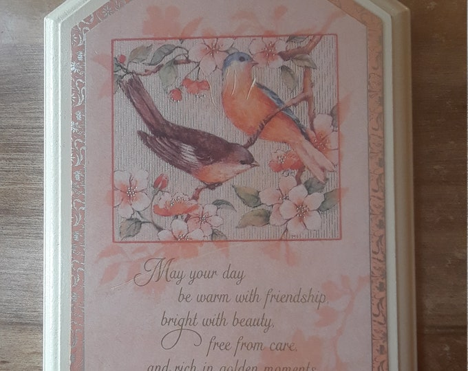 Vintage Hallmark plaque birds friendship 1981