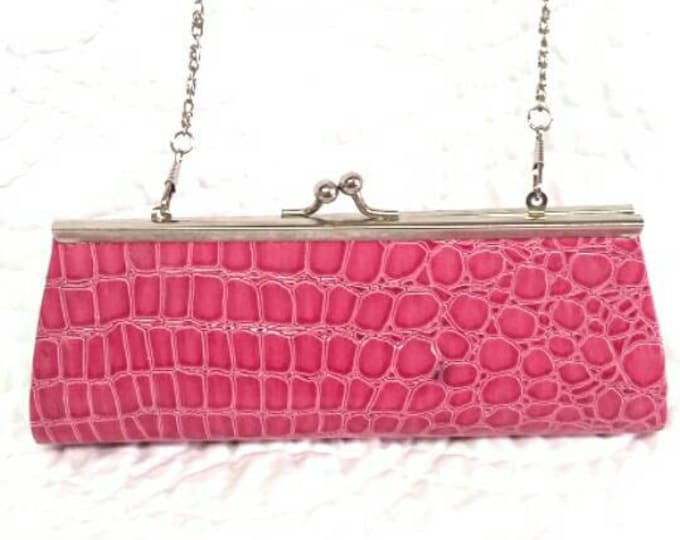 Petite purse pink clutch evening  Handbag faux alligator skin animal print top closure