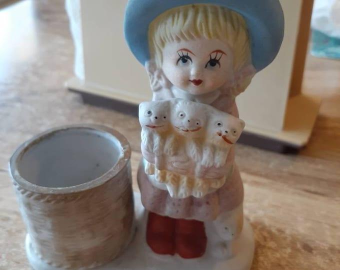 CANDLE HOLDER Jasco Hand Painted Porcelain Cute Girl holding kittens