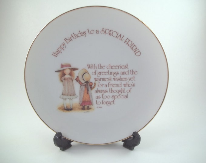 70s Collector Plate Holly Hobbie Happy Birthday to a Special Friend Lasting Memories Genuine Porcelaine Gold Rimmed