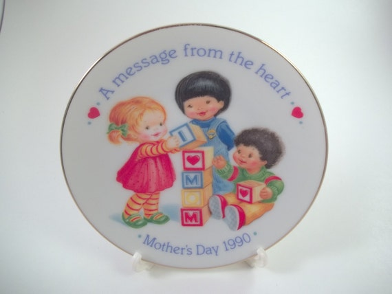 1990 Avon Mothers Plate gold rimmed 3 Children Message from the Heart Collectors plate Mothers Day gift
