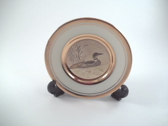 Chokin duck plate exclusive copper gilding gold and silver Japanese art