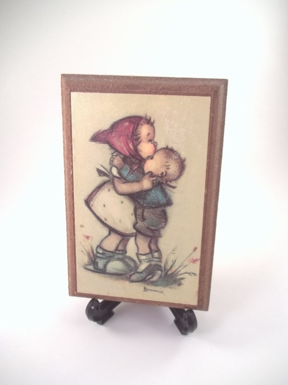 70s Bonnie Painting Print Plaque Picture Children Hug girl and boy Hummel look wood wall hanging