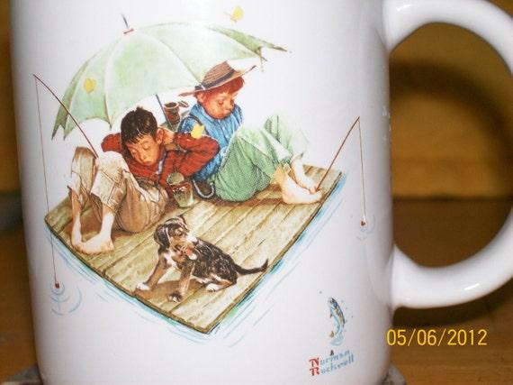 Fishing Mug Norman Rockwell Fisherman's Paradise Mug 1987 Collector's Item