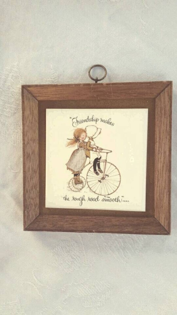 Holly Hobbie Rare Print on Tile Frame 1973 Girls Bicycle Friend Gift Baby Girl Room