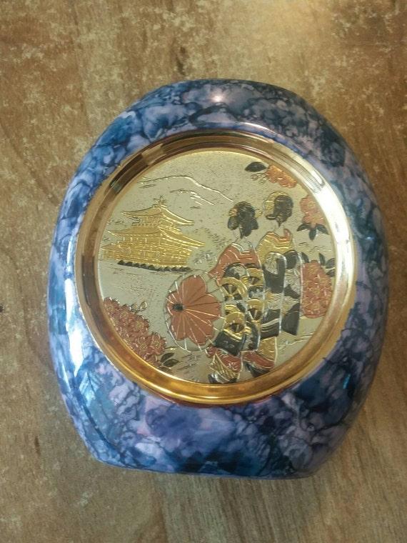 Vase Chokin 24k Gold edged copper inlay fine art blue marbled paint