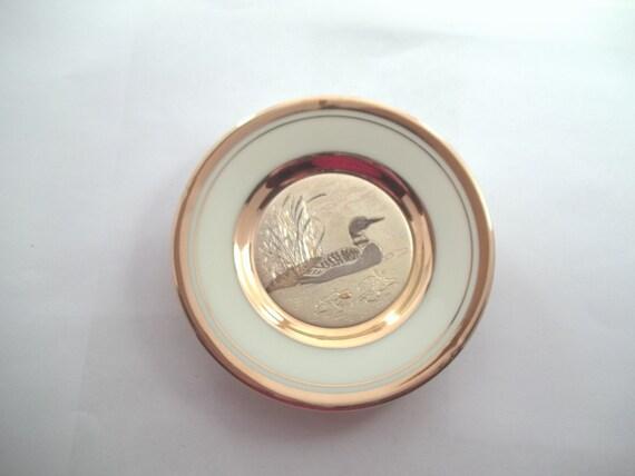 Chokin art plate duck copper gilding gold and silver Japanese art