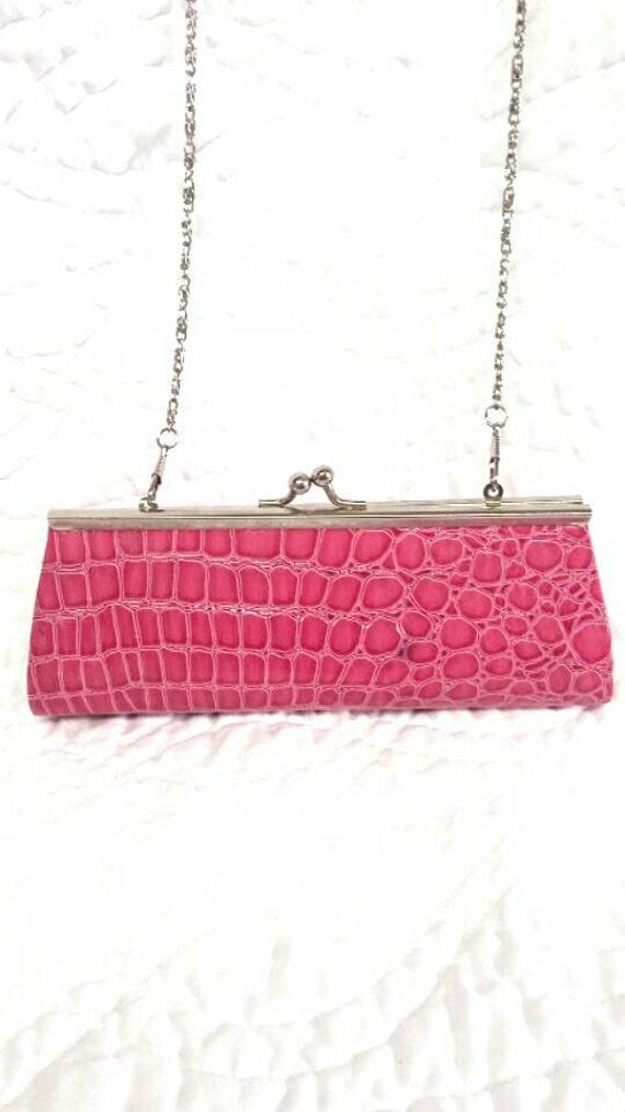 Petite purse pink clutch evening  Handbag faux alligator skin animal print top closure