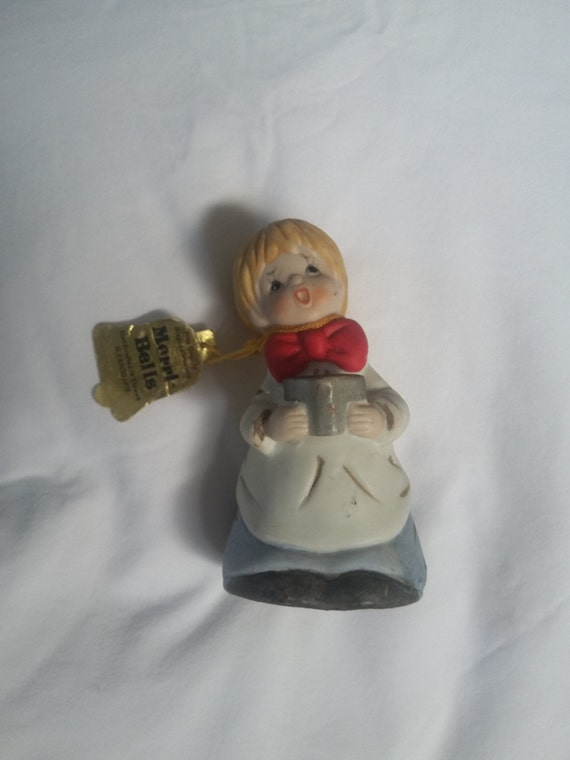 Merri-Bells Jasco 1978 Choir Boy Singer Bell Bisque Porcelain Keepsake Figurine