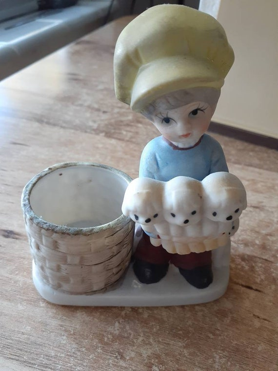 CANDLE HOLDER Jasco Hand Painted Porcelain Boy and Puppies