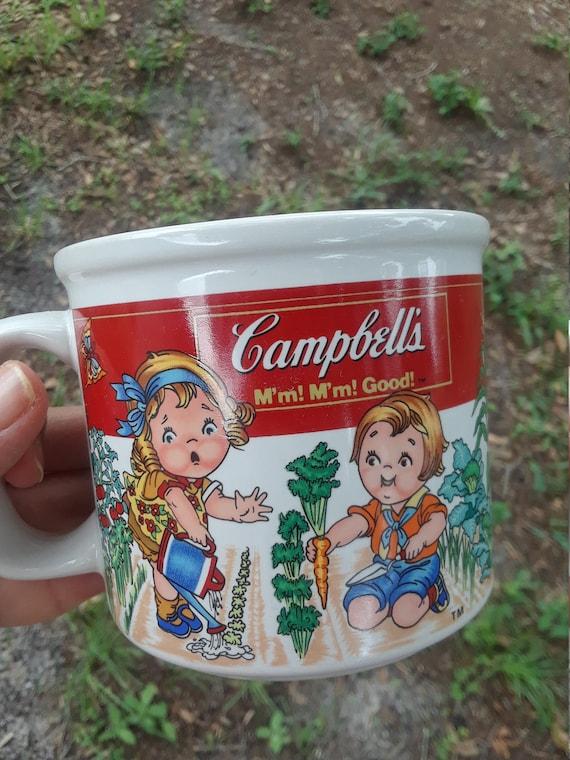 CAMPBELLS Mug 1993 cup features children garden by Westwood Faux Flowers Vintage
