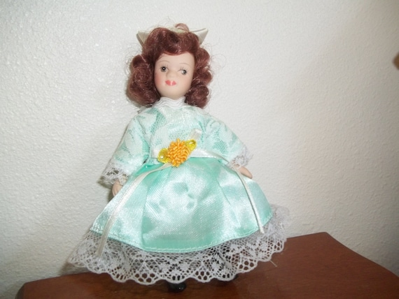 Petite doll pretty brown hair blue dress vintage lace satin