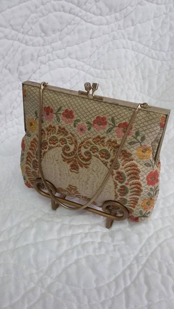 Vintage Clutch purse flower tapestry