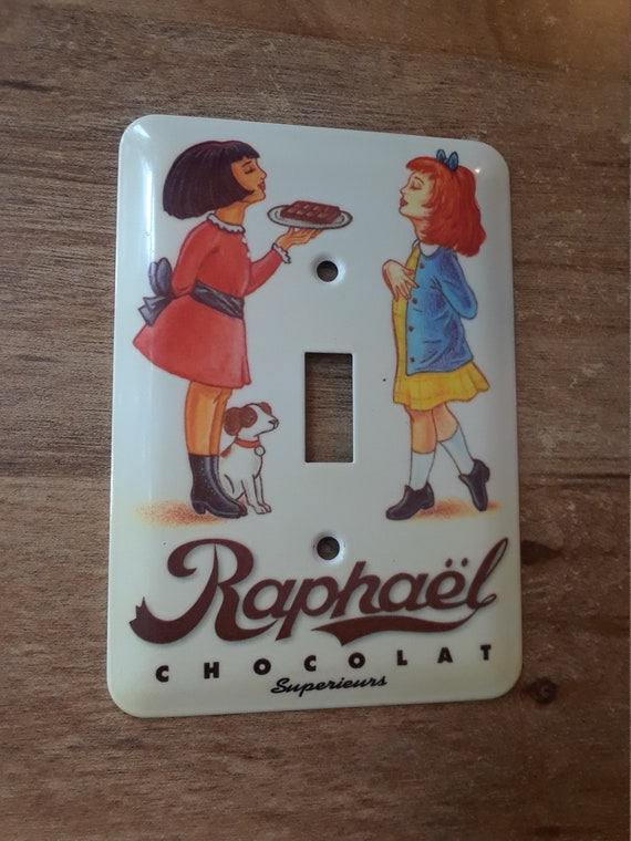 Switch plate cover Raphael chocolat superieurs 80s French vintage